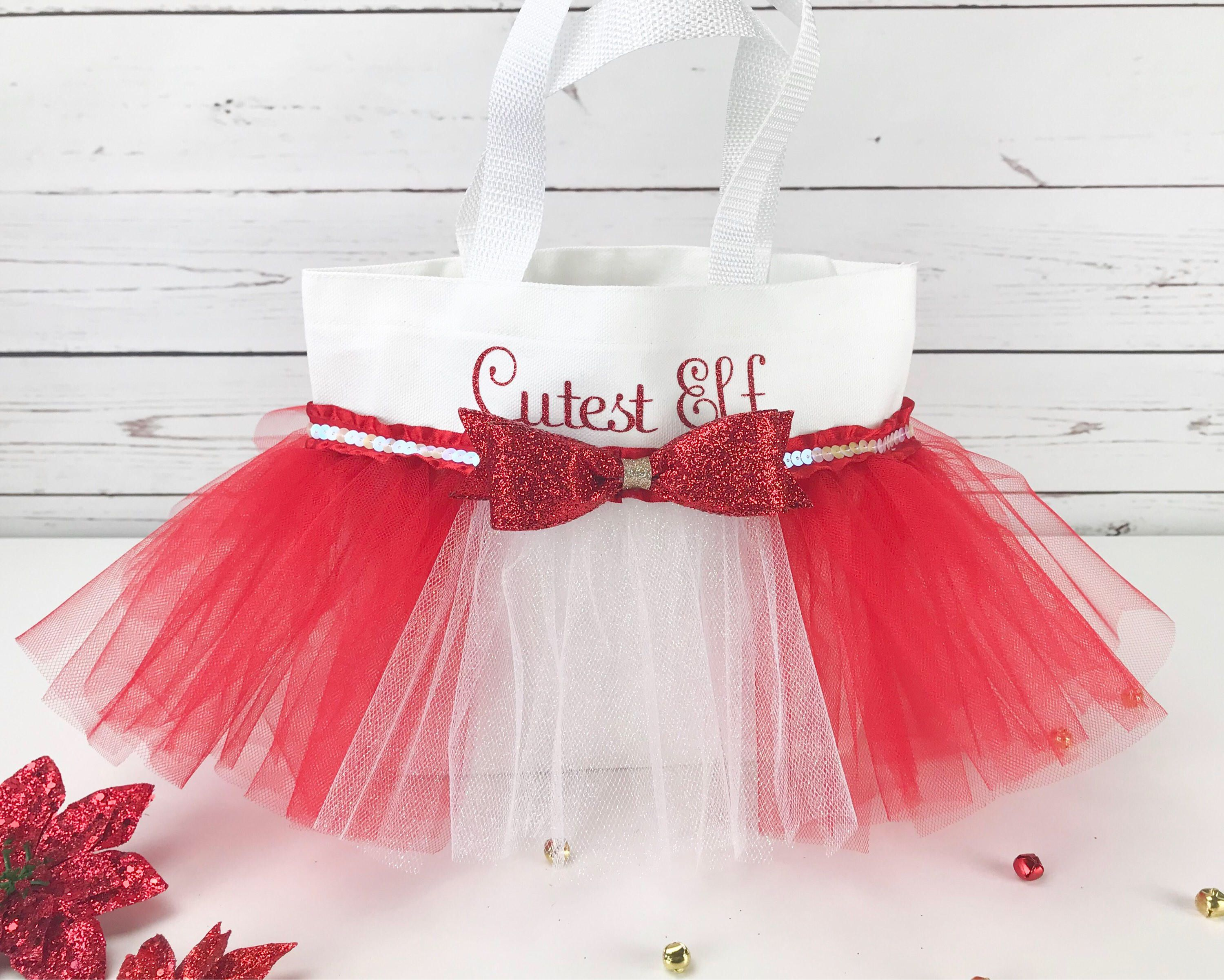 excited to share the latest addition to my etsy shop toddler girl christmas gift red christmas bag personalize christmas tote cutest elf tutu tote