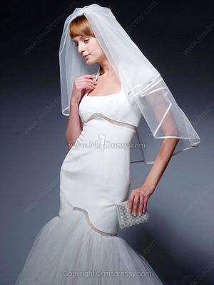Trumpet/Mermaid Square Tulle Satin Floor-length Draped Wedding Dresses #wedding #dress #2014