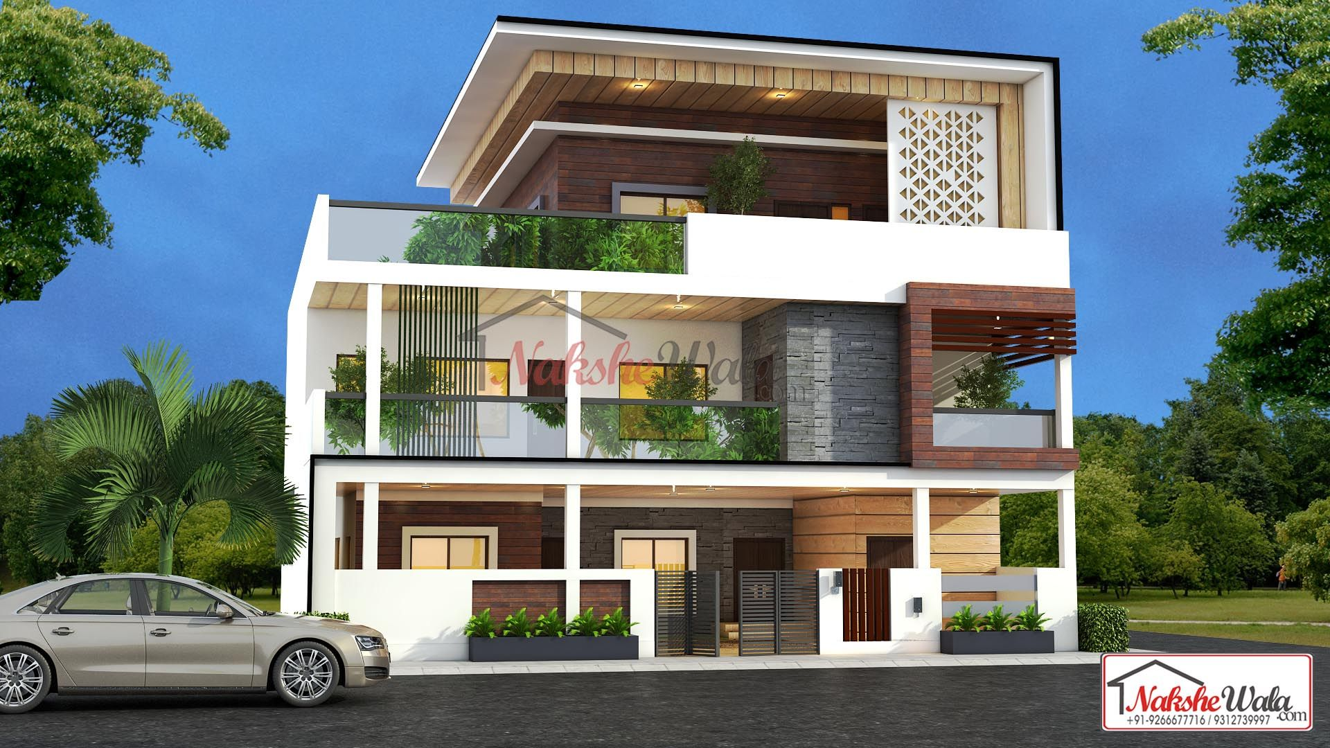 Modern House Elevation Design With Planted Balcony Design ...