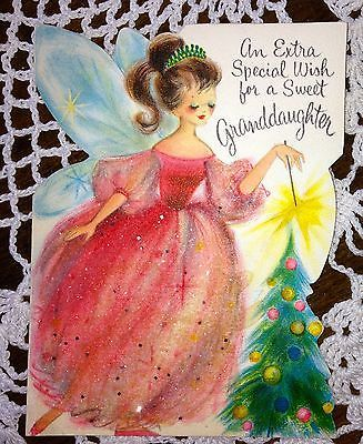 Vintage Christmas Greeting Card- Hallmark Die Cut Fairy glittered Pink EB1637
