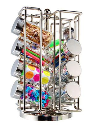 Store craft supplies (beads, etc.), hardware (washers, screws, etc.), or office supplies (paper clips, etc.) in a spice rack.