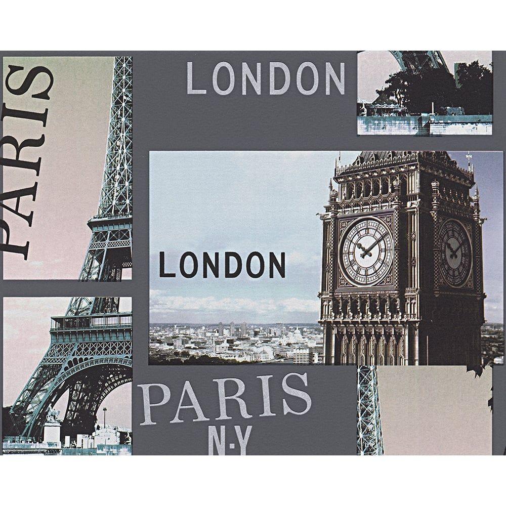 AS Creation City Photo Pattern London Paris New York Embossed