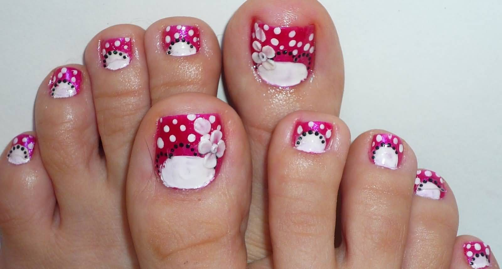 white and pink dotted flower nail art for toe | pes | pinterest