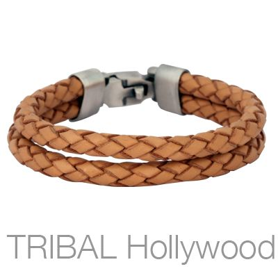9537ca7f3bab THE WRANGLER BROWN Double Strand Leather Mens Bracelet by Bico ...