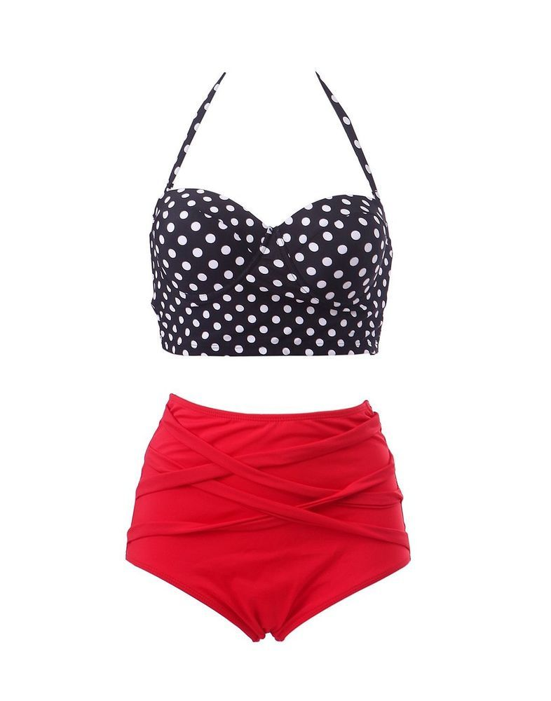 9bc978cfb6 Details about Lady Swimwear Retro Rockabilly Polka Dot High Waisted ...