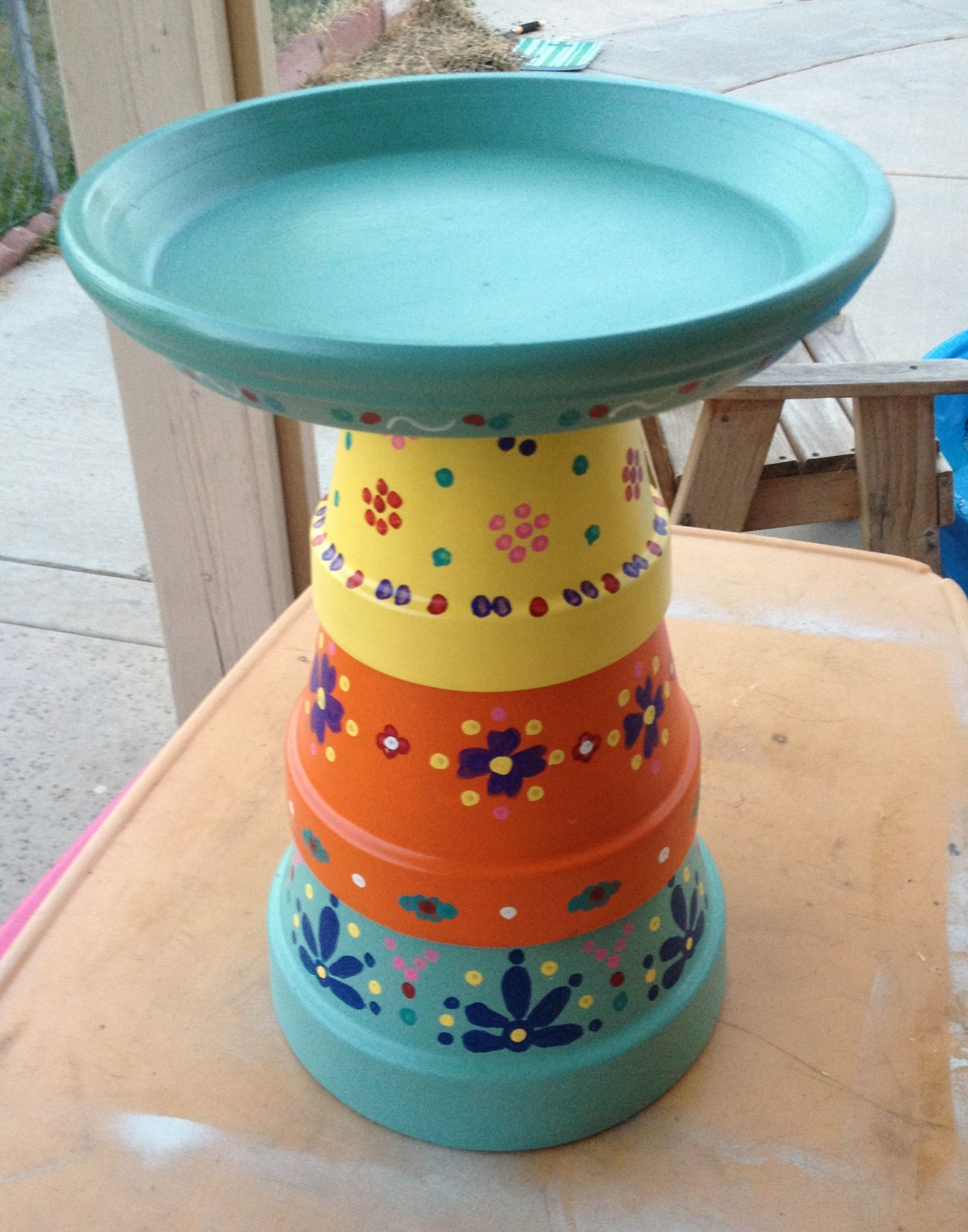Bird Bath Made From Terra Cotta Pots Went For A Mexican Pottery Paint Scheme