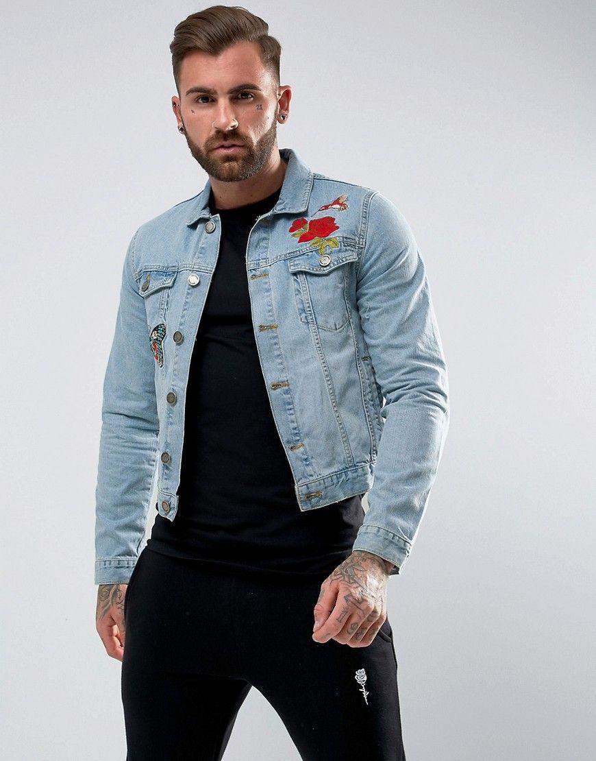 de00076b9625 Rose London Denim Jacket With Floral Embroidery - Blue | Denim ...
