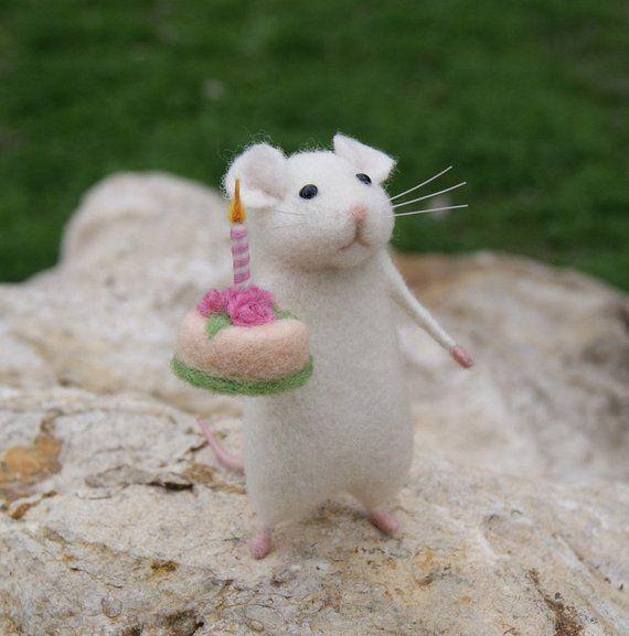 Geburtstag mit der Nadel gefilzt Maus weiße Maus mit der Nadel gefilzt Tier Miniatur Geburtstag Geschenk Home Dekor