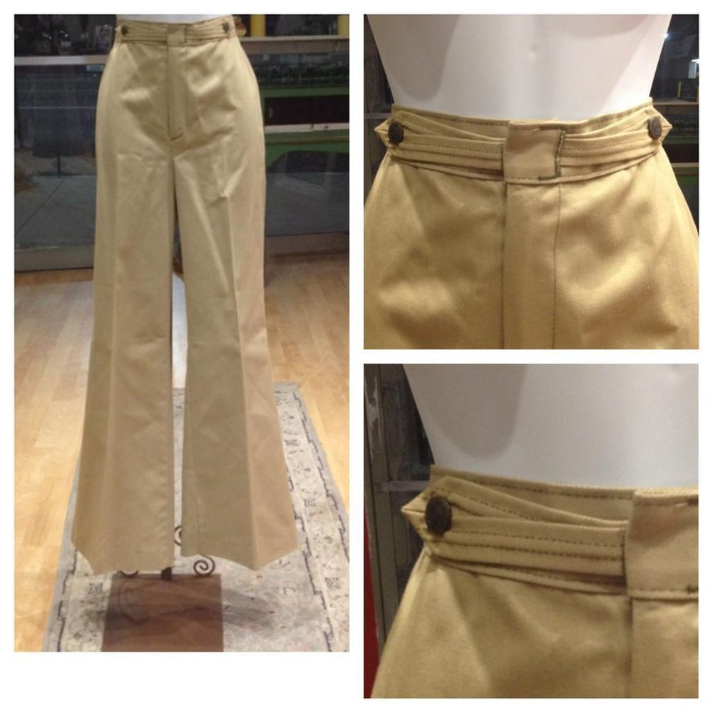 united kingdom super cheap wide selection of designs Details about Vintage Retro 70s khaki bell bottoms pants ...