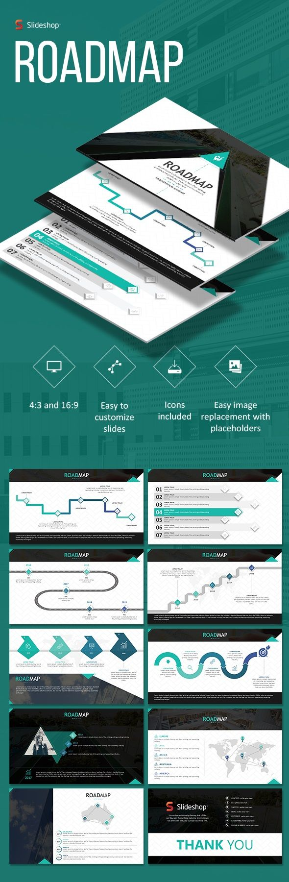 Roadmap Powerpoint Templates  Presentation Templates Template
