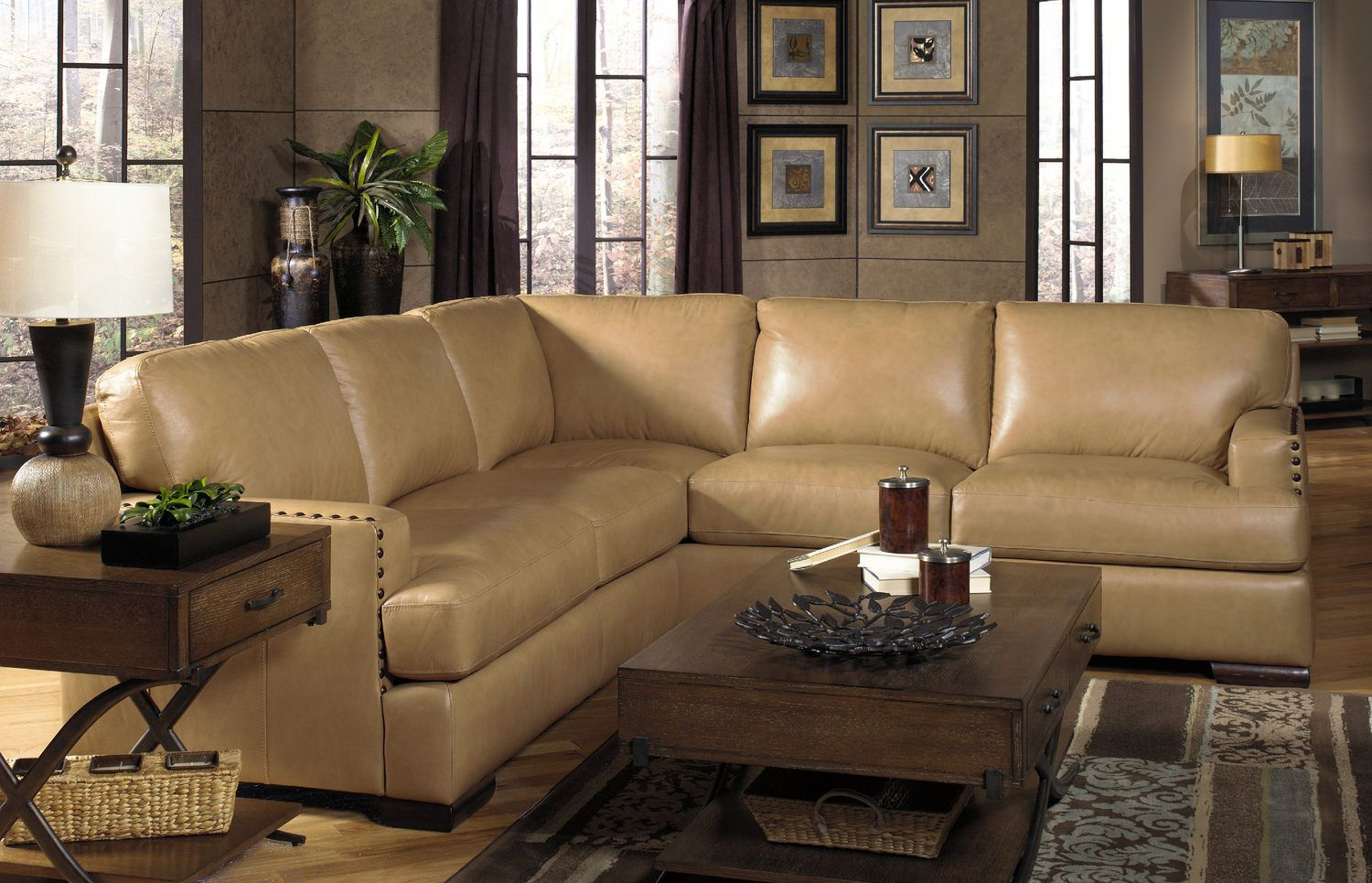 Cajole 2 Piece Leather Sectional At Hom Furniture Leather