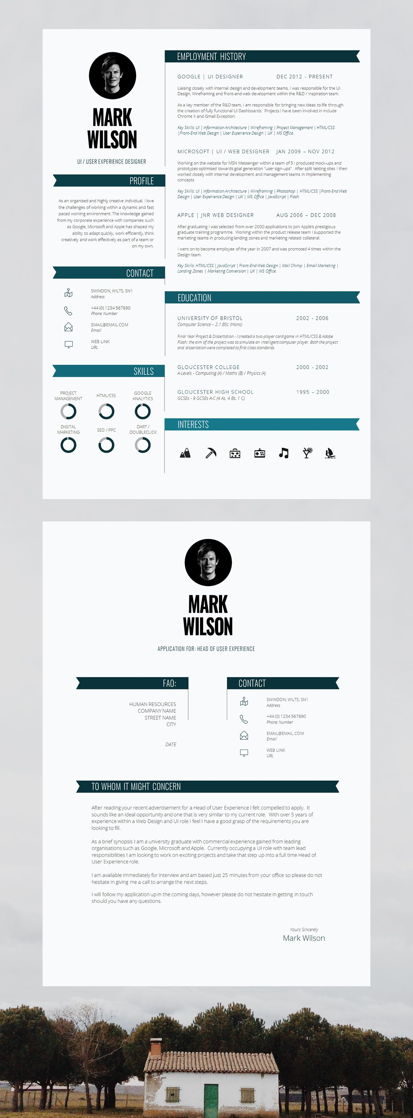 resume Resume Guide modern resume template cv design cover letter a guide and rolled up into one handy download
