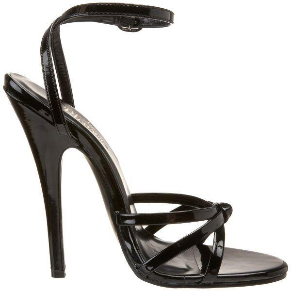 bea77e4b9333 Nu-pieds à Brides Noirs Vernis Talon Aiguille | Chaussures Sexy ...