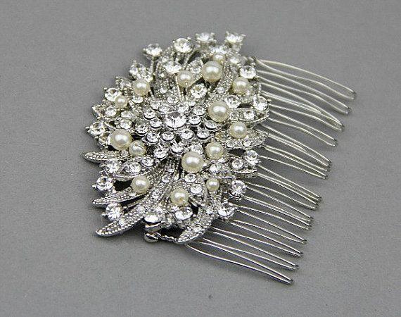 Bridal Vintage Pearl Crystal Hair Comb Accessories , Wedding Pearl Crystal Rhinestone Hair Accessories Headpiece Vintage Wedding original price