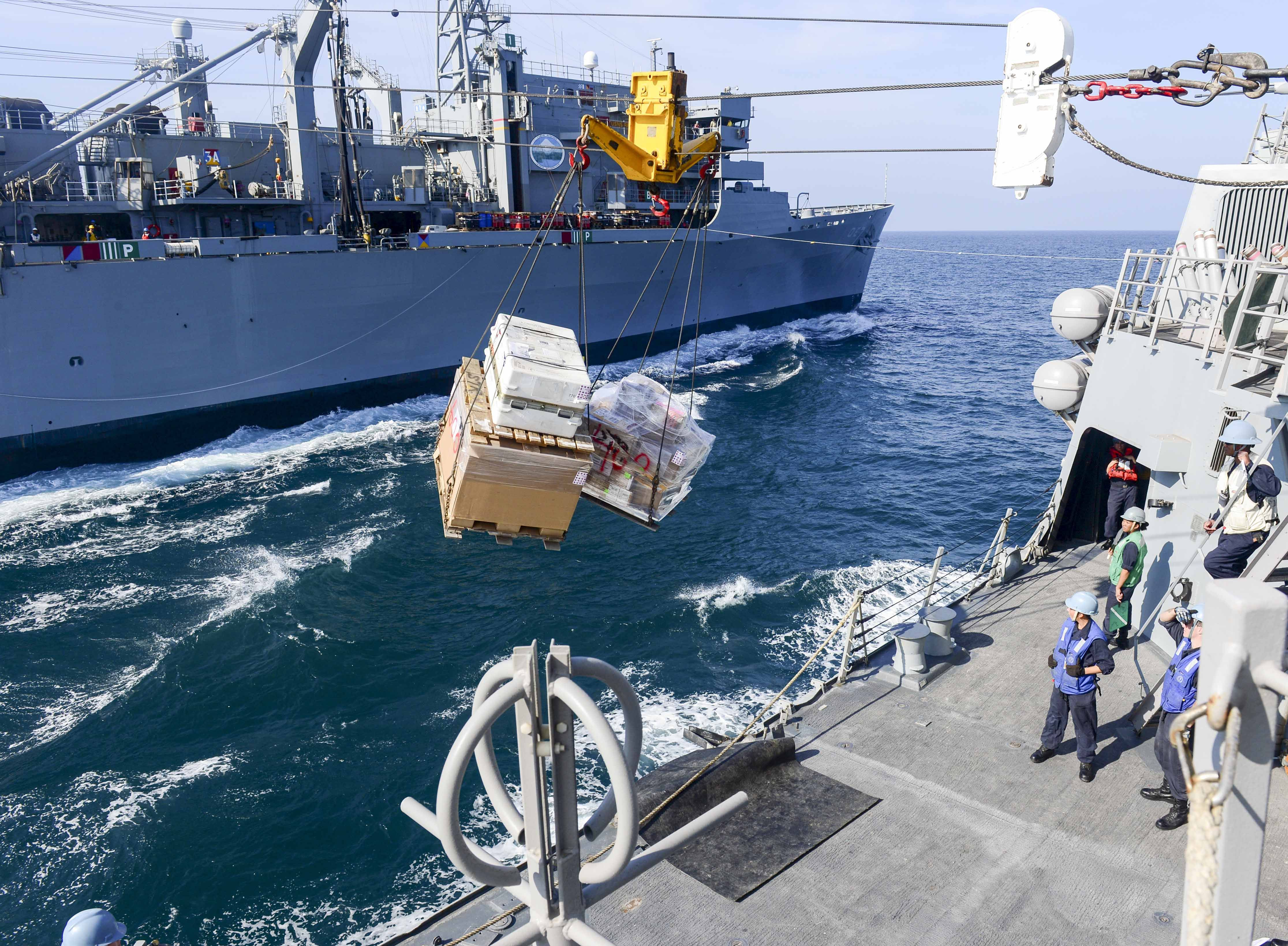 ARABIAN GULF,Dec.19,2014.Cargo pallets from Military Sealift Command fast combat support ship USNS Rainier (T-AOE 7) cro… | Warship, Navy life, Carrier strike group