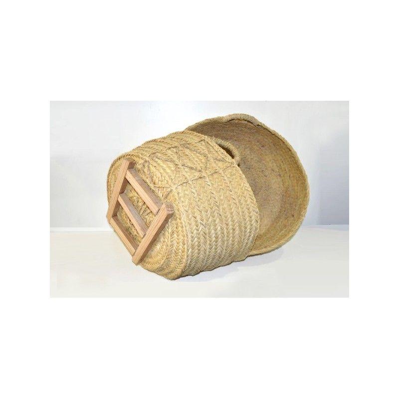 Leñero de esparto con base de madera - Cuerda Cieza