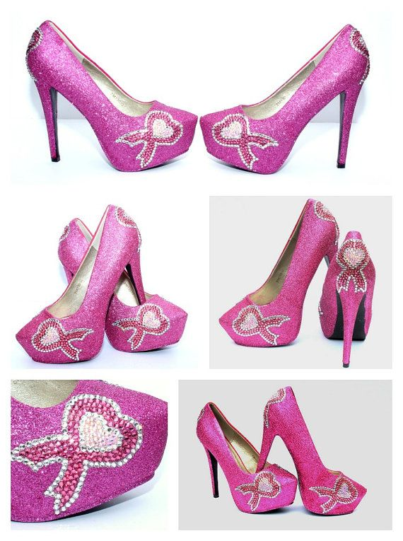 Pink Breast Cancer Ribbon Heels with Pink AB by WickedAddiction