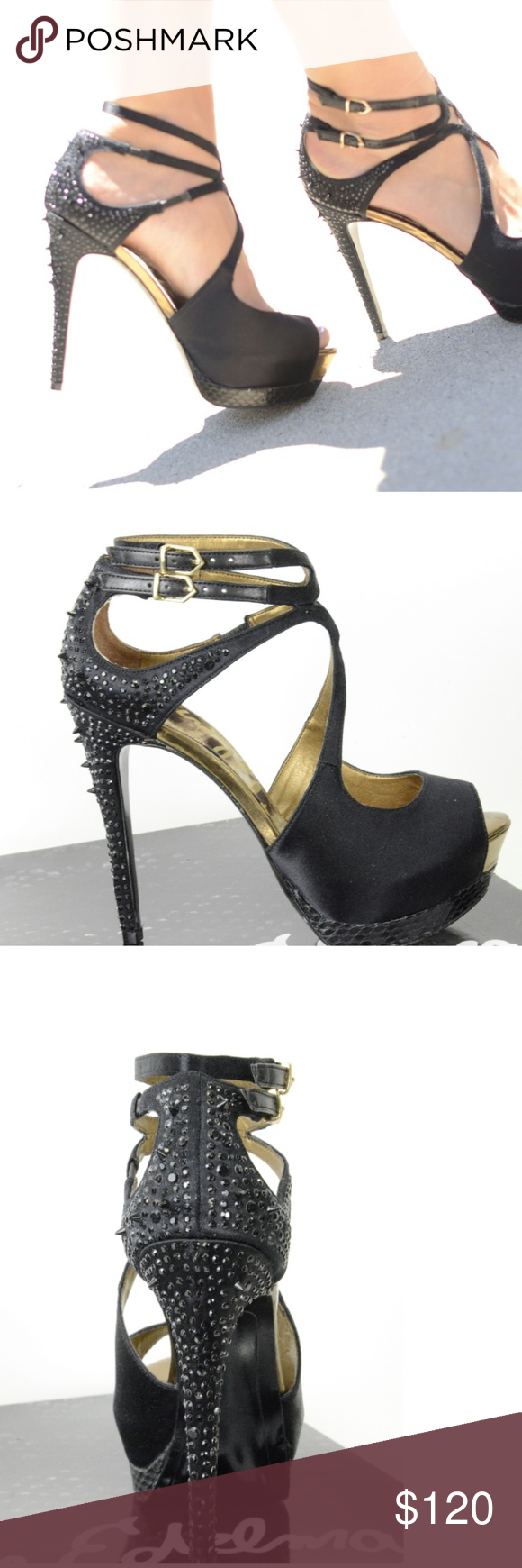 2e4804f8d Sam Edelman Pryce Platform Sandals Crystal Heels Tonal rhinestones and slim  spikes stud the heel of