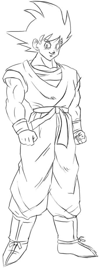 how to draw goku from dragon ball z with easy step by step drawing