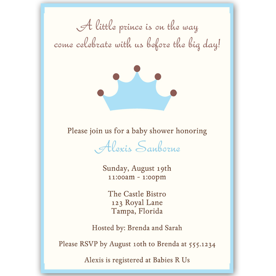 Little Prince Baby Shower Invitation | Boy baby showers and Shower ...