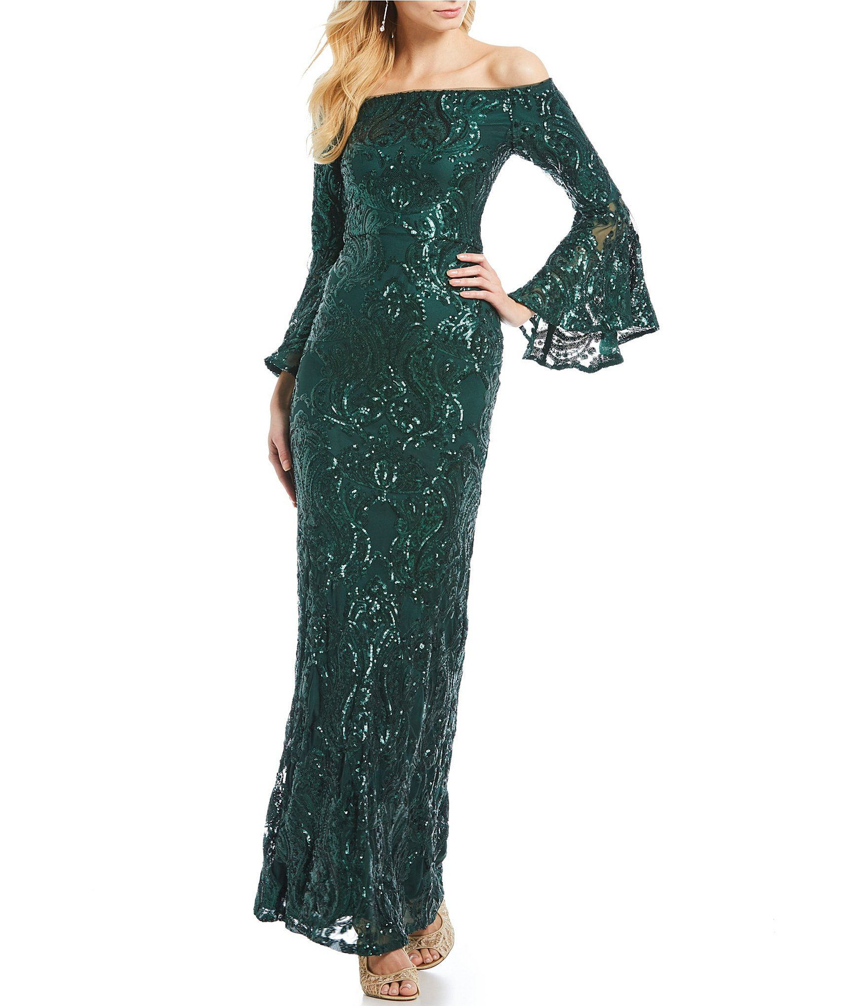 c1e4f04e76 Shop for Betsy   Adam Sequined Off-the-Shoulder Flutter Sleeve Sequined Gown  at Dillards.com. Visit Dillards.com to find clothing