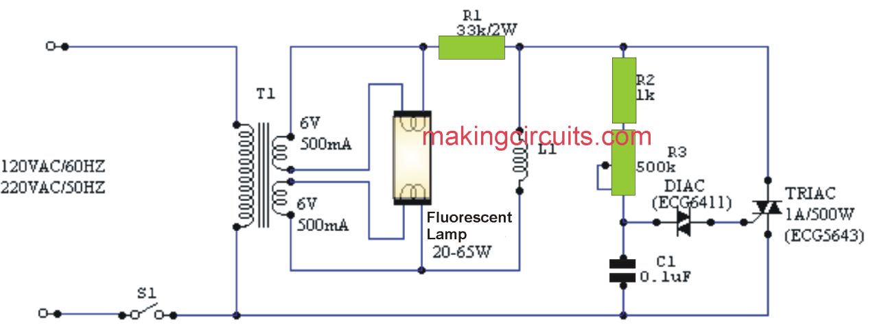The Proposed Simple Fluorescent Lamp Driver Dimmer Circuit