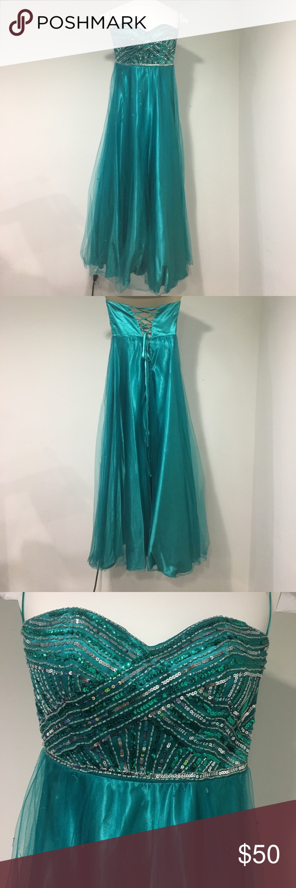 Teal prom dress size 3/4 | Strapless prom dresses, Silk skirt and Teal