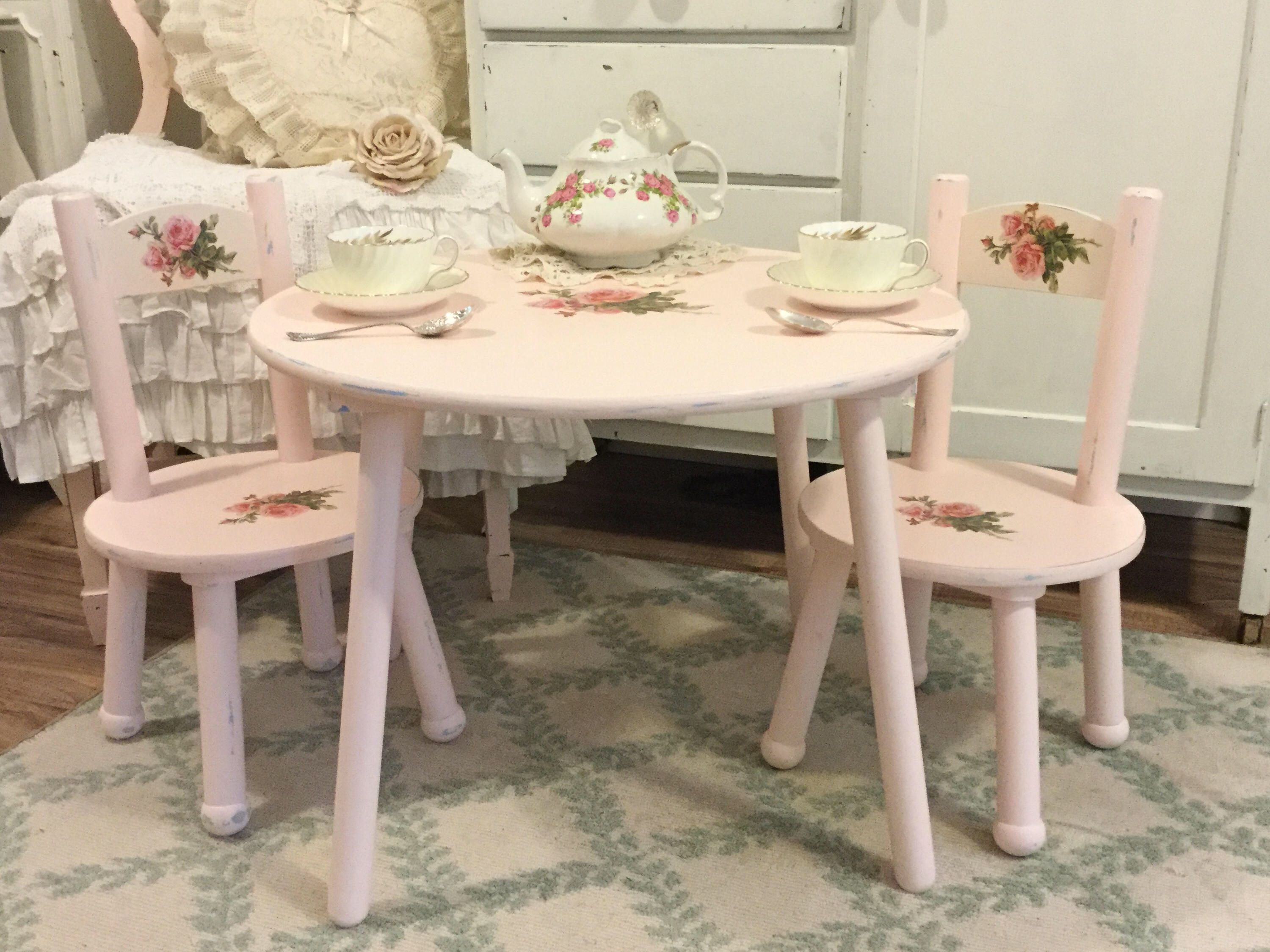 Shabby Children39s Table And Chair Setchild39s Vintage