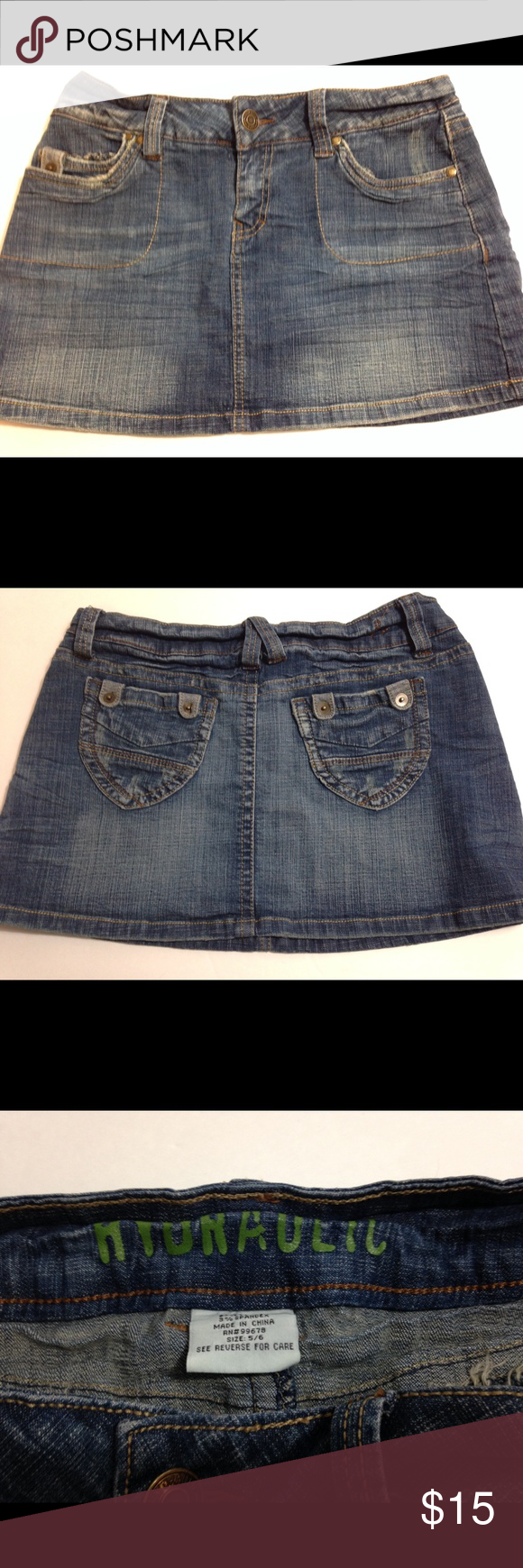 """Hydraulic denim skirt Hydraulic denim skirt.  Cute with front and back pockets.  EUC.  12"""" long, 15"""" across waist Hydraulic Skirts Mini"""