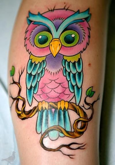 This Is Super Cute If I Were To Get A Cute Little Owl It Probably Wouldn T Have This Many Colors Though Cute Owl Tattoo Colorful Owl Tattoo Cute Tattoos