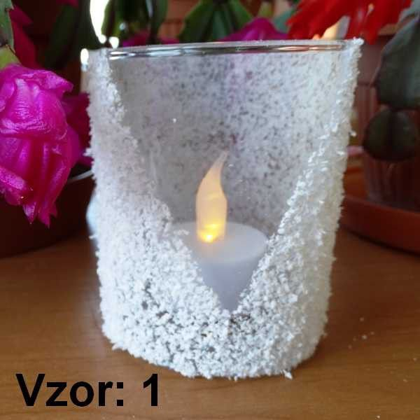 Svietnik sklenený - Sviečka - S čajovou sviečkou LED (plus 1€), Vzor - Vzor 1