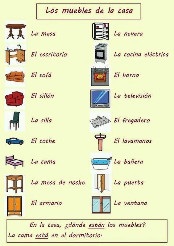 Spanisch-Vokabeln: Die Möbel im Haus! #learningspanish #Spanisch #Spanisch_Vokabeln_lernen #Spanisch_lernen #Spanische_Vokabeln #Spanisch_Wortschatz #Spanisch_Konversation #Spanisch_Möbel #Spanisch_Haus #vocabulario_los_muebles #learningspanish