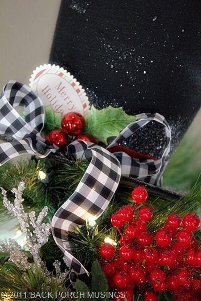 Country Christmas Love the gingham ribbon Christmas Pinterest - christmas decor pinterest