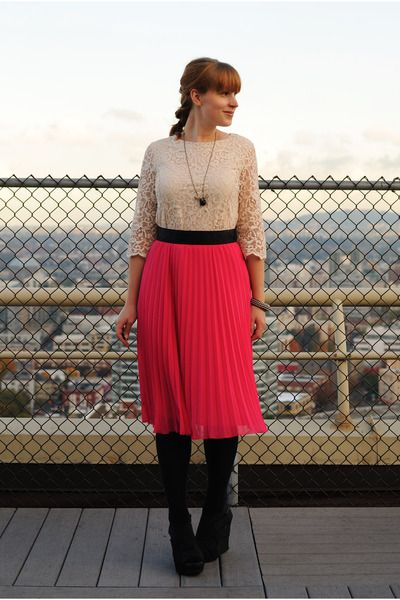 pink skirt with lace top and black tights, belt & accessories