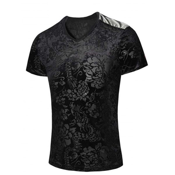 19.34$  Buy now - http://dirnw.justgood.pw/go.php?t=175395007 - New Style V-Neck Floral Print PU Leather Spliced Men's Short Sleeves T-Shirt