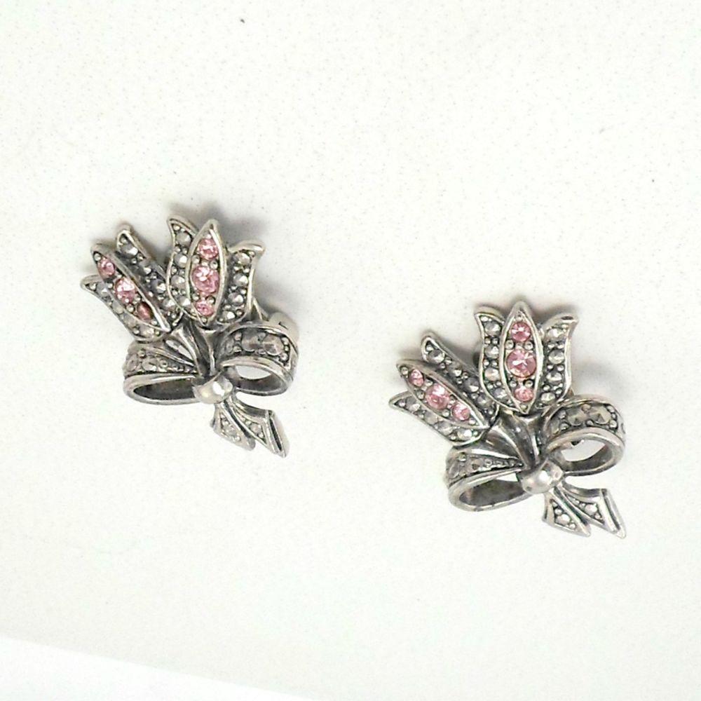 Tulip Flower Sterling Silver Marcasite Brooch - Vintage Style Brooch Pin/Clip - Brooch Jewellery mSm7a