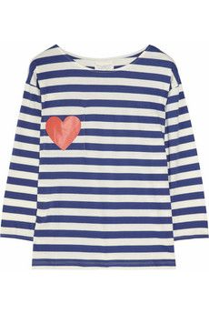 Chinti and Parker  Heart-print striped cotton top