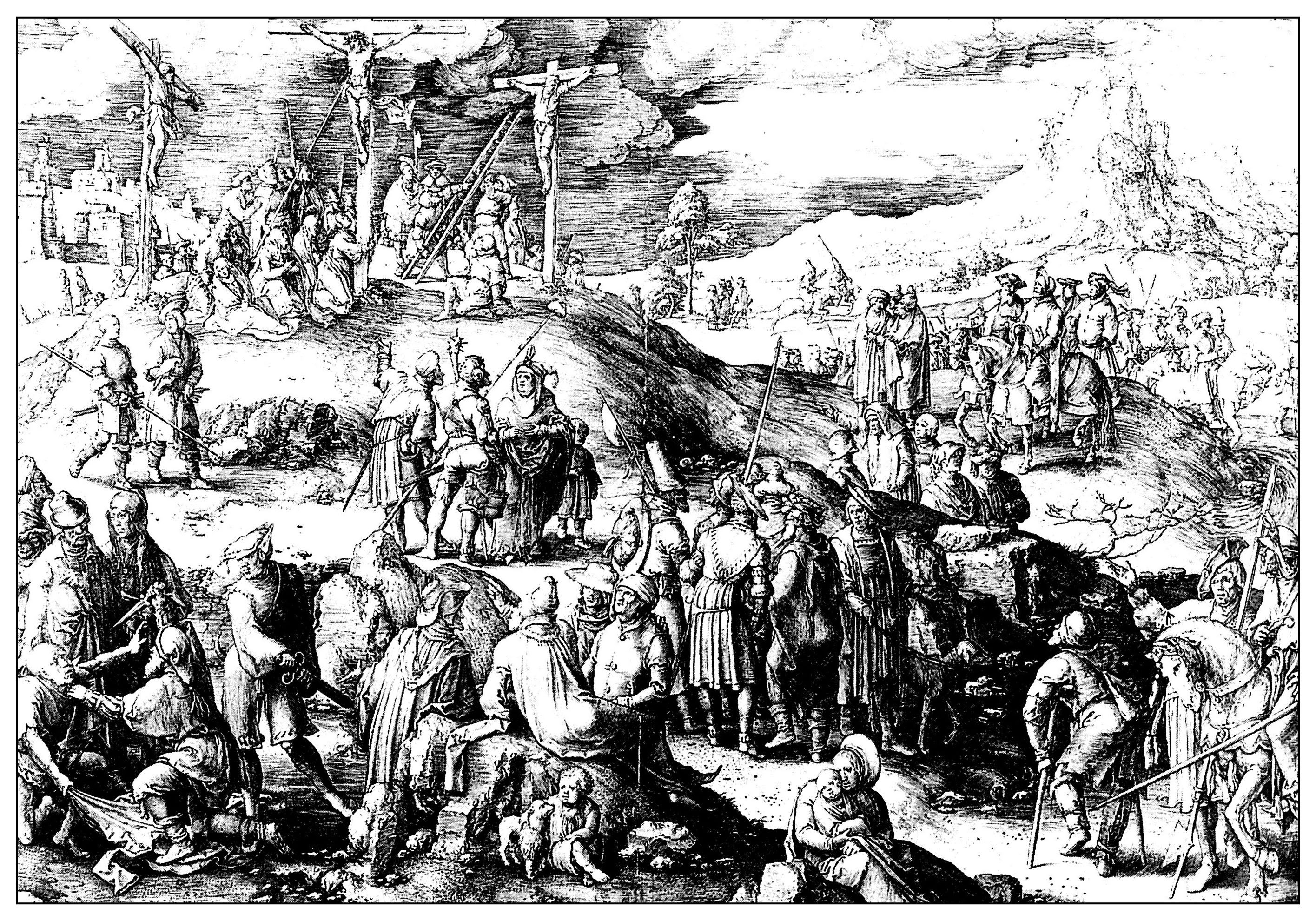 Medieval Coloring Pages For Adults : Free coloring page coloring adult engraving lucas de leyde calvary