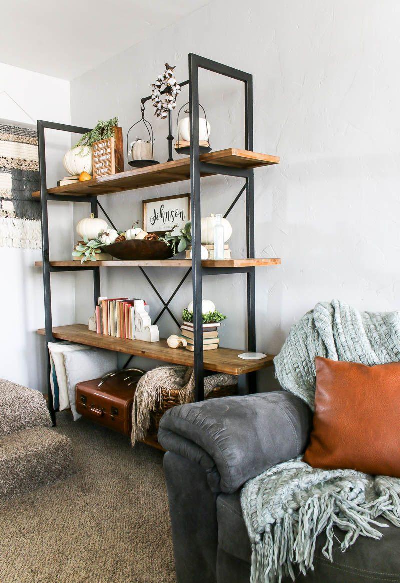 Living Room Shelf Ideas With Pumpkin Decorations For Fall ...