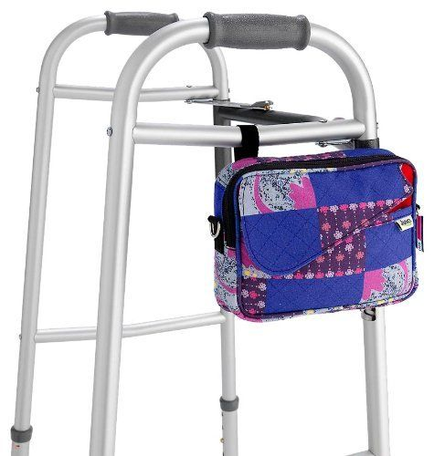 Juvo Products WB301 Personal Walker Tote, Multi-Color by Juvo. $25.95. Dimensions: 6? h x 8? w x 2.5? d; vertical strap adjusts up to 6?; horizontal straps adjust up to 7?. Sport version has two quick-access vertical pockets on front panel and two large zippered compartments. Available in sport,fashion ? black, red, tan? or craft styles. Universal fit connects to walker in seconds. Shoulder strap included; can be converted to a purse instantaneously when used away f...