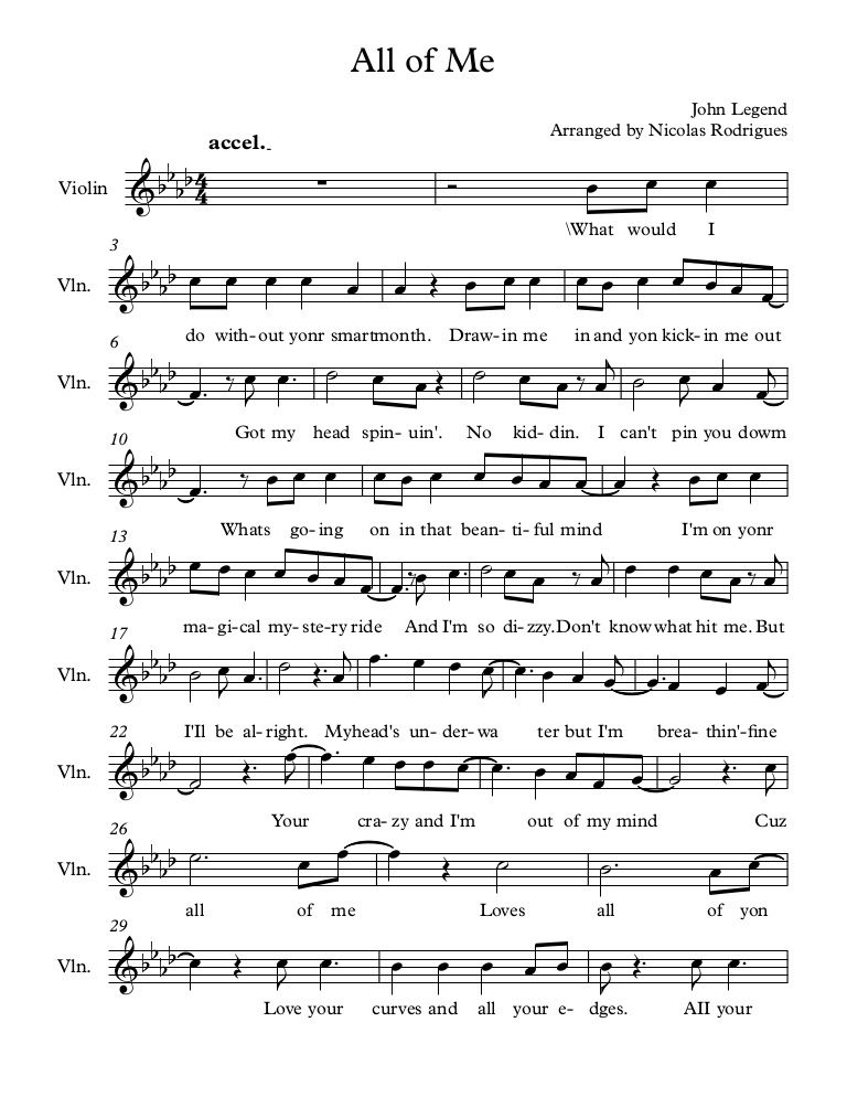 Piano all of me easy piano sheet music : Free sheet music download All of Me by John Legend | Violin ...