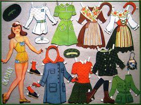 Ely Gross har tegnet en serie af nordiske piger -  Alle er ca 25 cm høje og fra kartonark fra ca 1945           Her er Barbr...