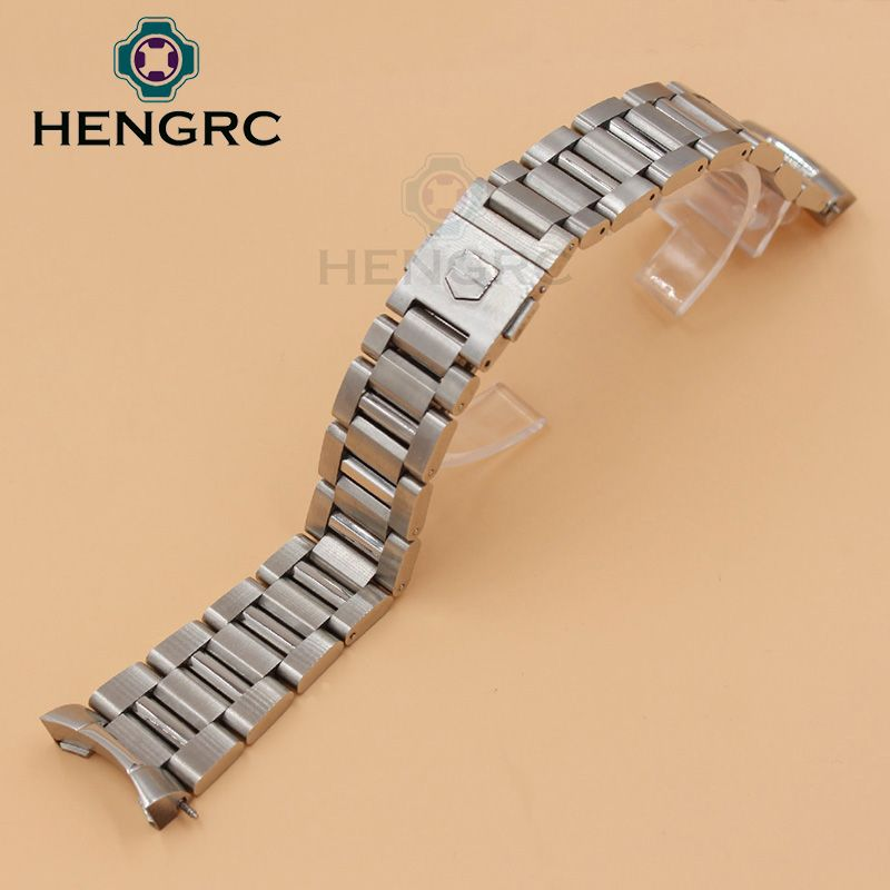 6ea9de5054a 22mm Watch Strap Bracelet Silver Balck Solid Stainless Steel Luxury Curved  End Watchbands Metal Watch Band