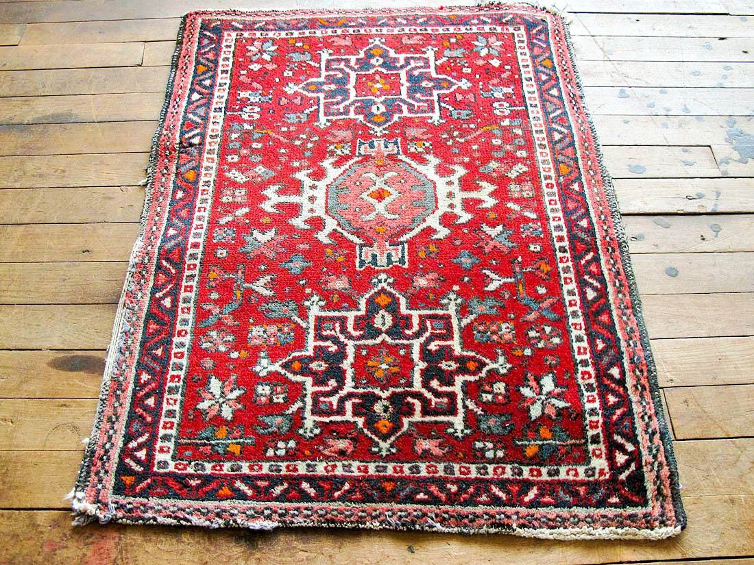 Vintage Persian Rug Red Distressed Boho Entry
