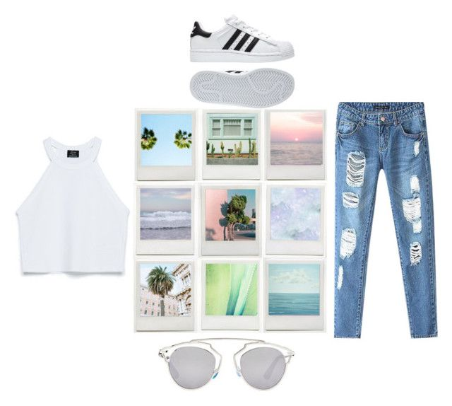"""SUMMER"" by sarapmary ❤ liked on Polyvore featuring moda, Chicnova Fashion, Christian Dior, adidas e Zara"