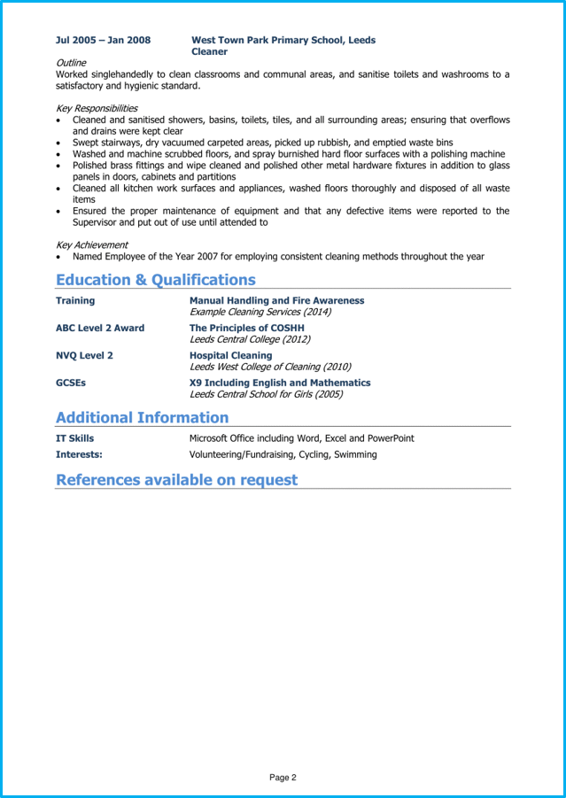 Cleaner Cv Example Page 2 Cv Examples Curriculum Vitae Examples Guided Writing