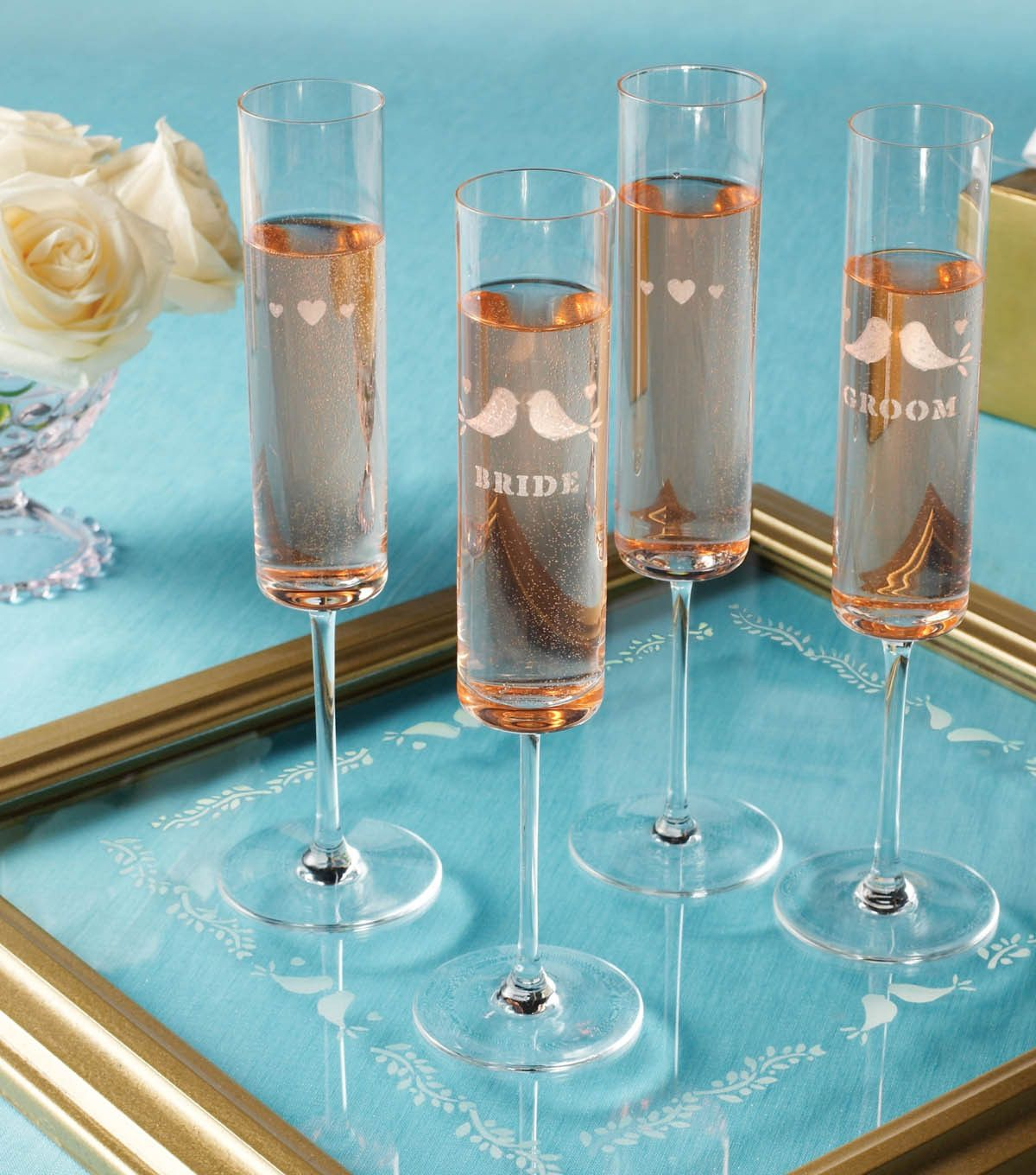 Martha Stewart Crafts Wedding Glass Etched Glassses