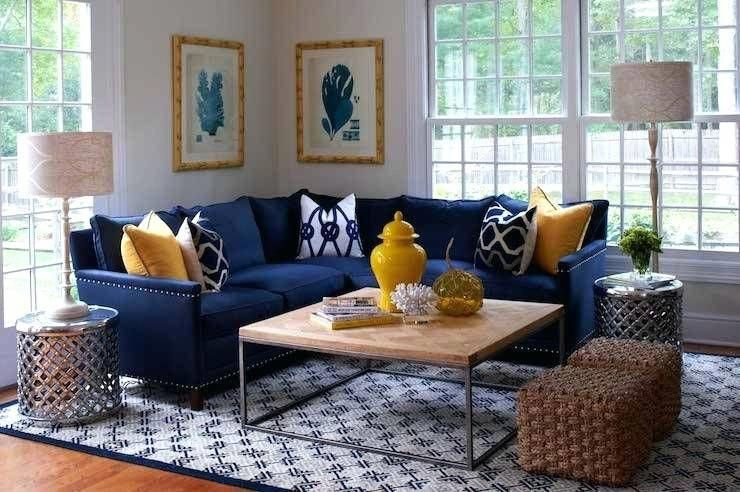 Navy Blue Yellow And Grey Bedroom L Shaped Blue Navy Sectional Sofa With Accent Pillows Blue Living Room Decor Blue Sofas Living Room Living Room Decor Colors