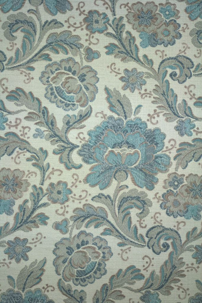 Vintage 50s Blue Paisley Wallpaper With A Romantic Pattern