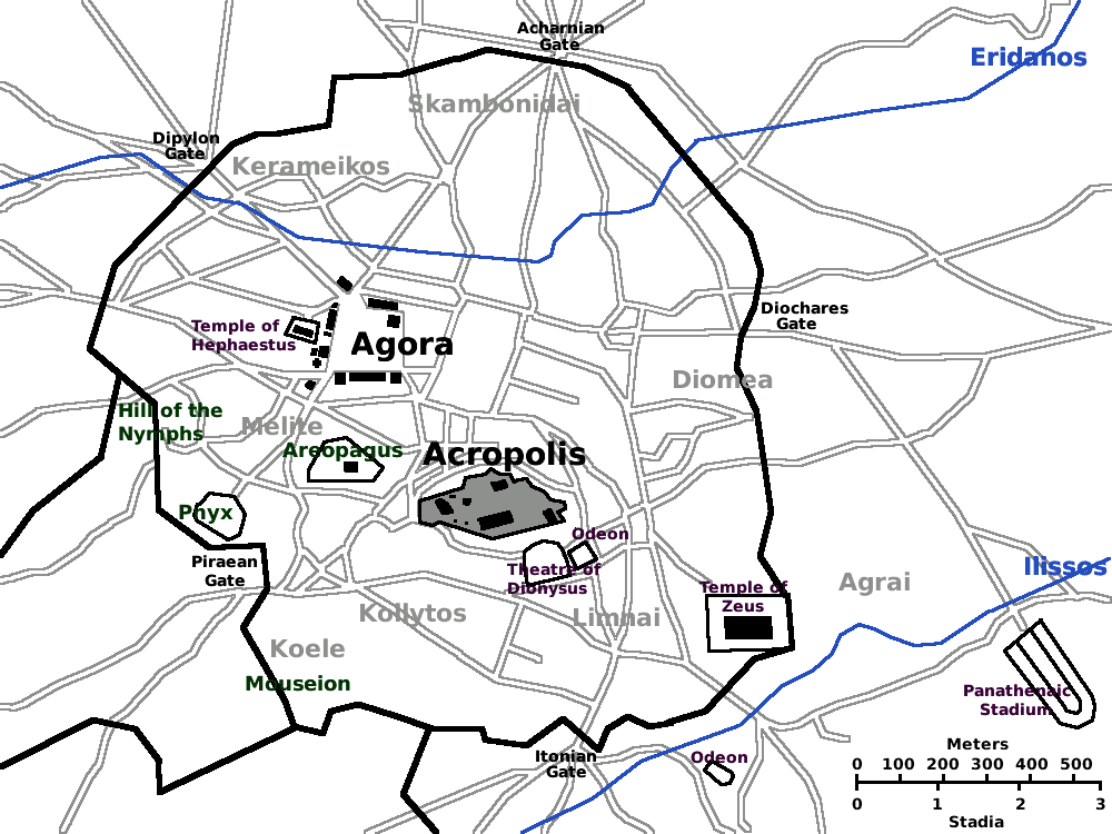 Map Of Ancient Athens Showing The Acropolis In Middle The Agora To
